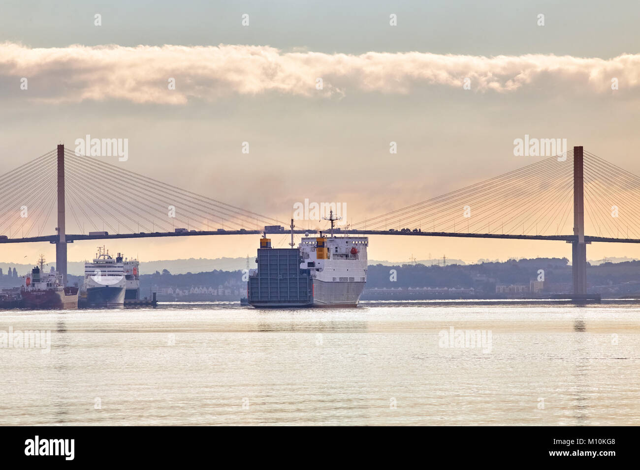 The ship 'Celestine' leaving London, approaching the Dartford Bridge in the early morning. Photographed from the Stock Photo