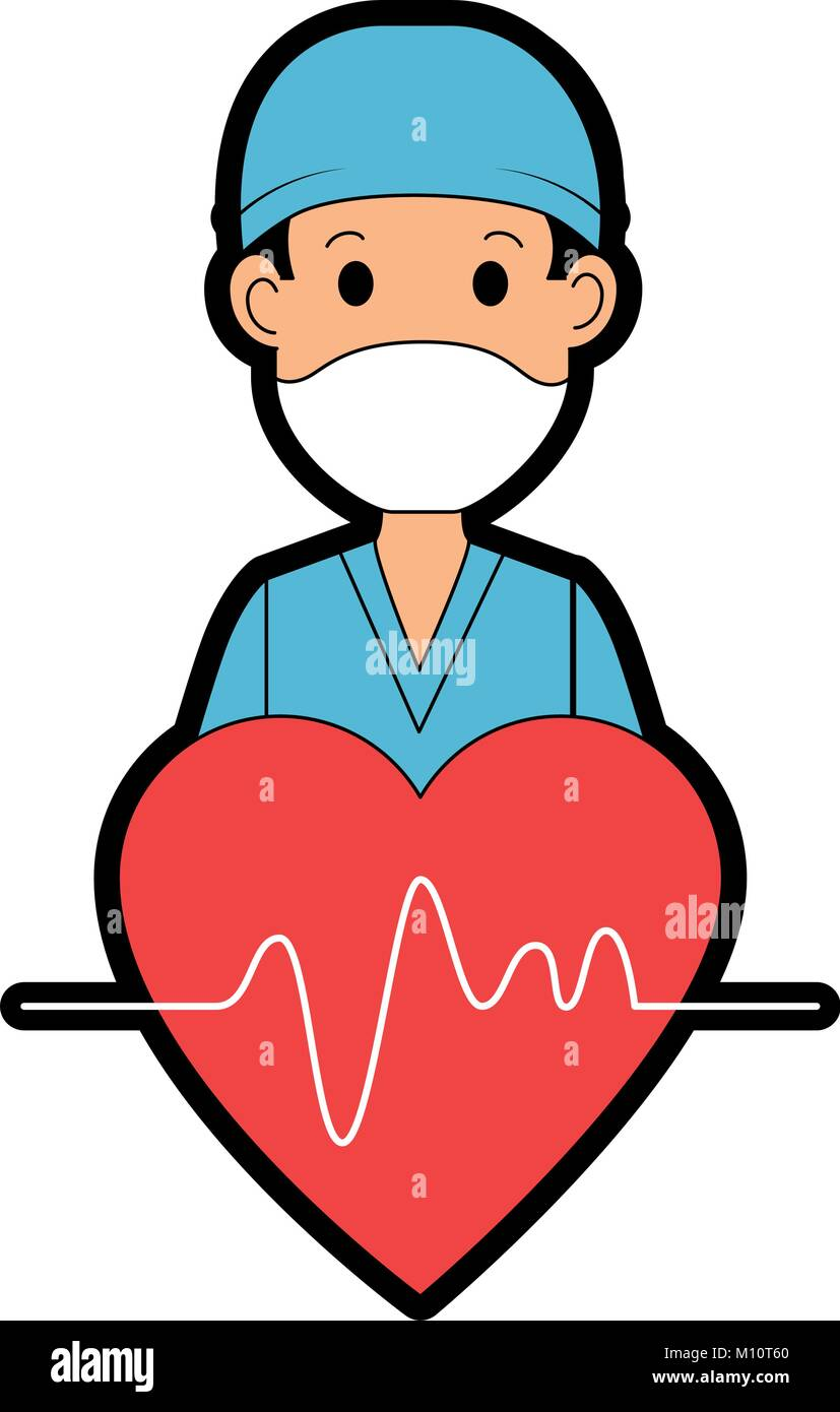 Surgeon Doctor With Heart Avatar Character Icon Vector Illustration Stock Vector Image Art Alamy