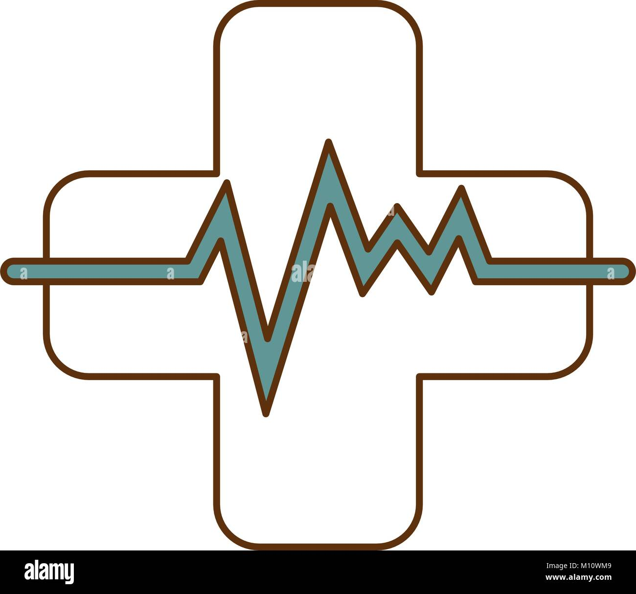 cross with pulse cardiac - Stock Image