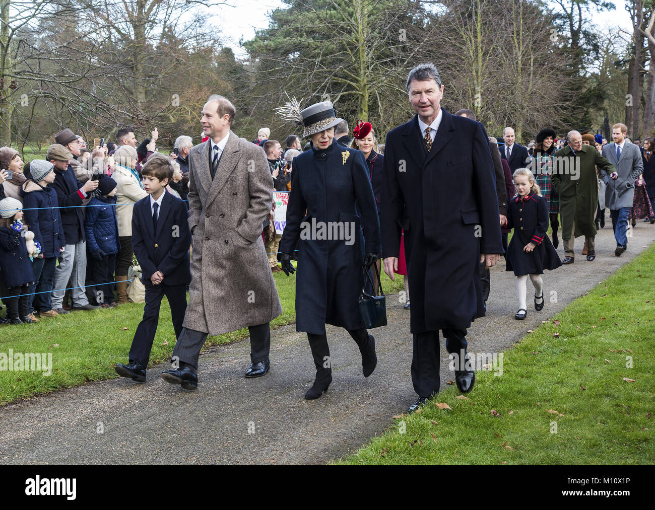 The British Royal family arrive at Sandringham to celebrate Christmas Day  Featuring: Princess Anne, Prince Edward - Stock Image
