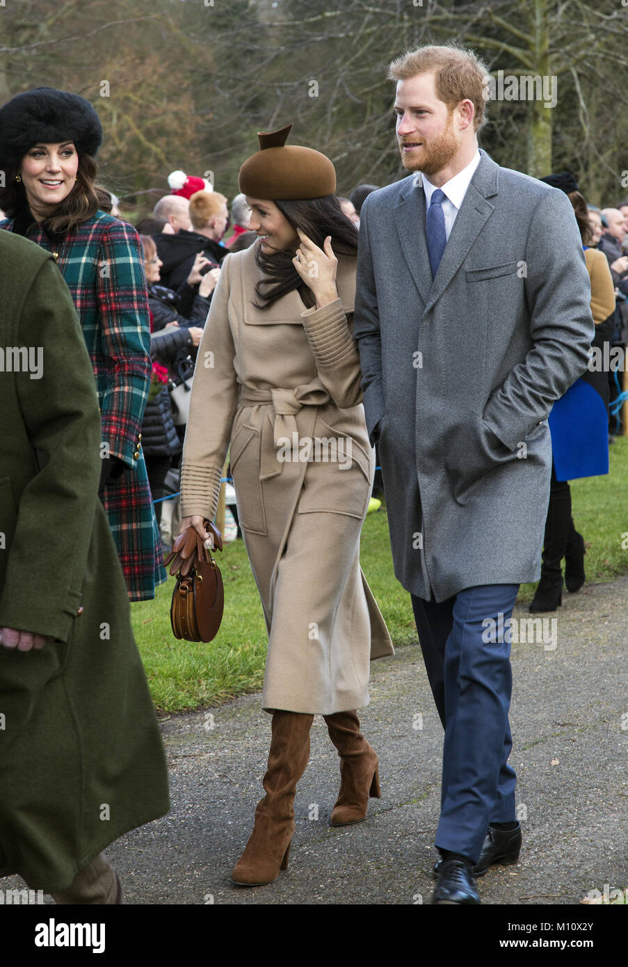 The British Royal family arrive at Sandringham to celebrate Christmas Day  Featuring: Catherine, Duchess of Cambridge, - Stock Image