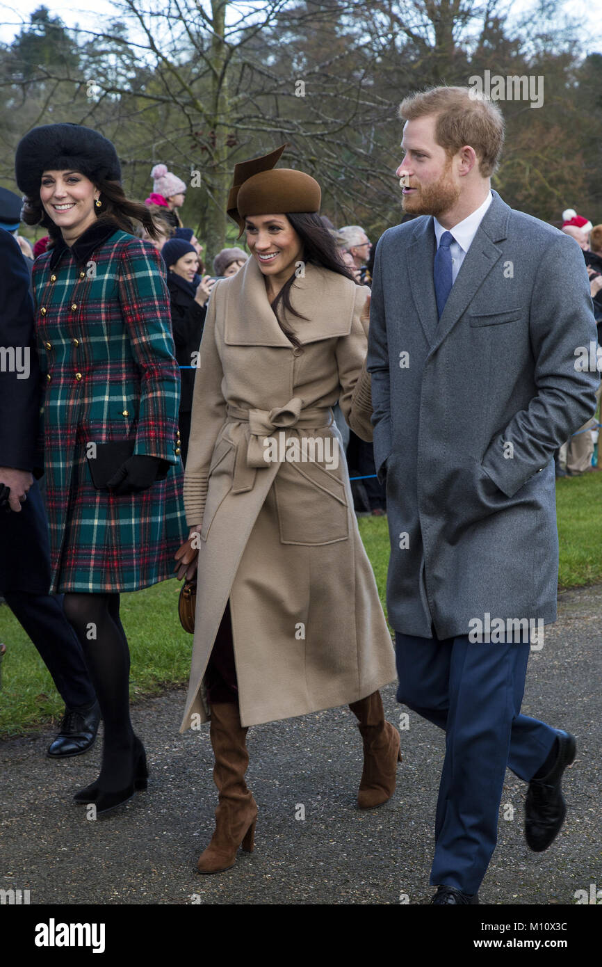 The British Royal family arrive at Sandringham to celebrate Christmas Day  Featuring: Prince Harry, Meghan Markle, - Stock Image