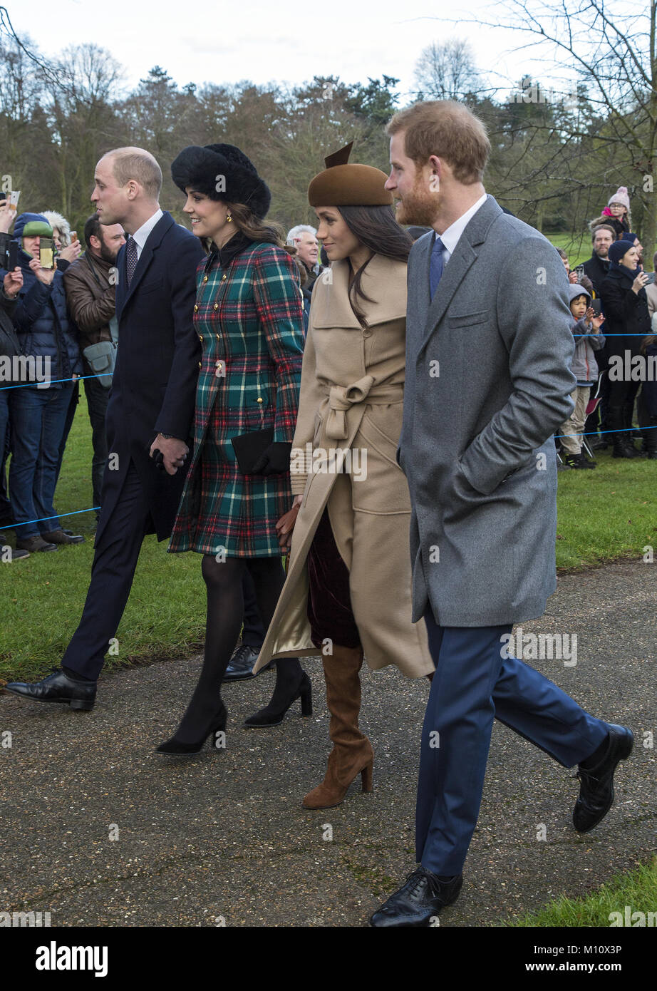 The British Royal family arrive at Sandringham to celebrate Christmas Day  Featuring: Prince William, Duke of Cambridge, - Stock Image