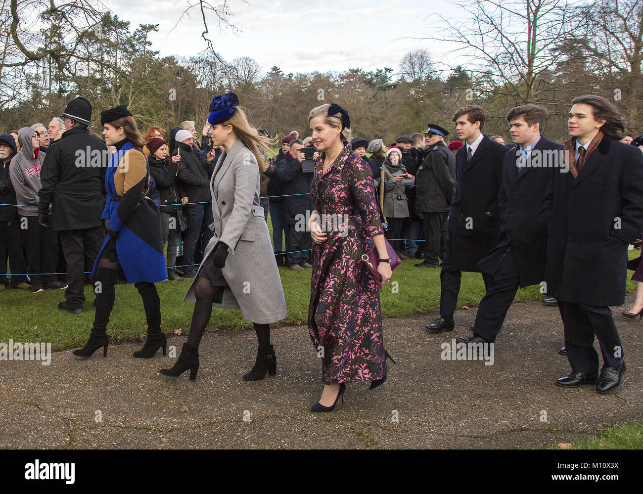 The British Royal family arrive at Sandringham to celebrate Christmas Day  Featuring: Princess Eugenie, Princess - Stock Image