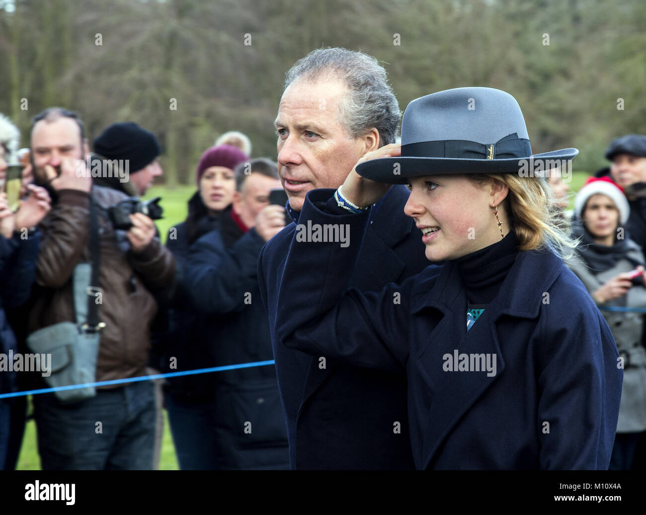The British Royal family arrive at Sandringham to celebrate Christmas Day  Featuring: Viscount Linley Where: Sandringham, - Stock Image