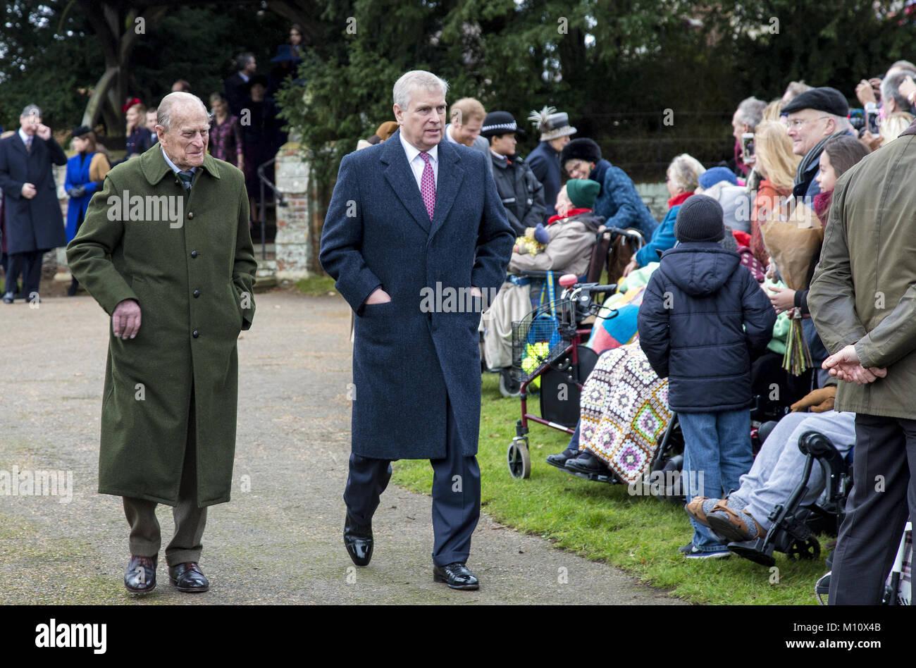 The British Royal family arrive at Sandringham to celebrate Christmas Day  Featuring: Duke of Edinburgh, Prince - Stock Image