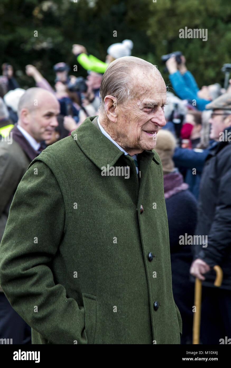 The British Royal family arrive at Sandringham to celebrate Christmas Day  Featuring: Duke of Edinburgh Where: Sandringham, - Stock Image