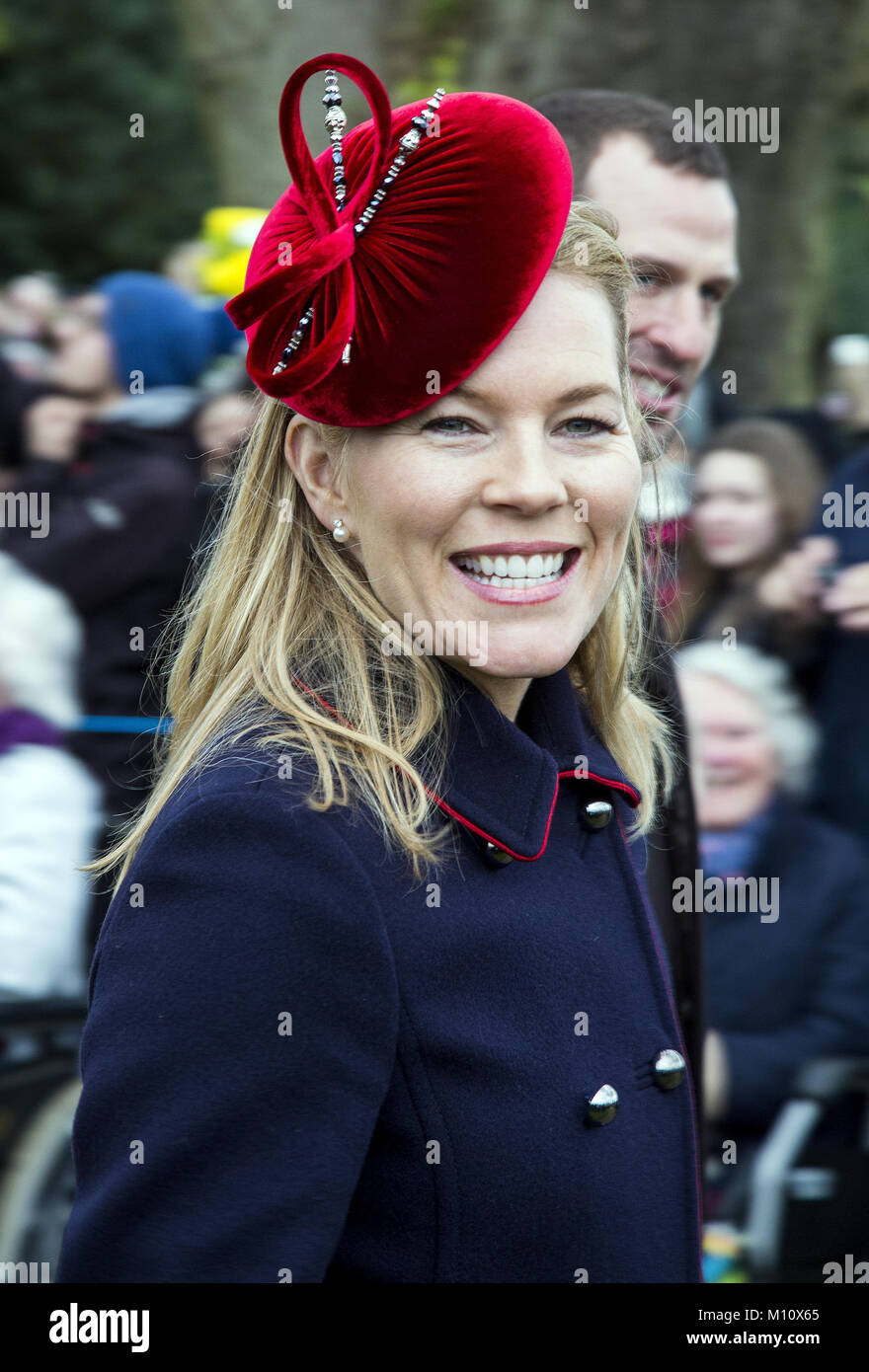 The British Royal family arrive at Sandringham to celebrate Christmas Day  Featuring: Autumn Phillips Where: Sandringham, - Stock Image