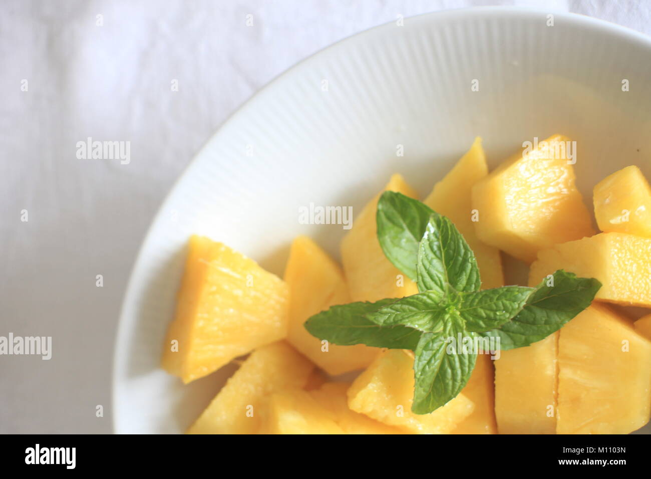 plate filled mango  - Stock Image