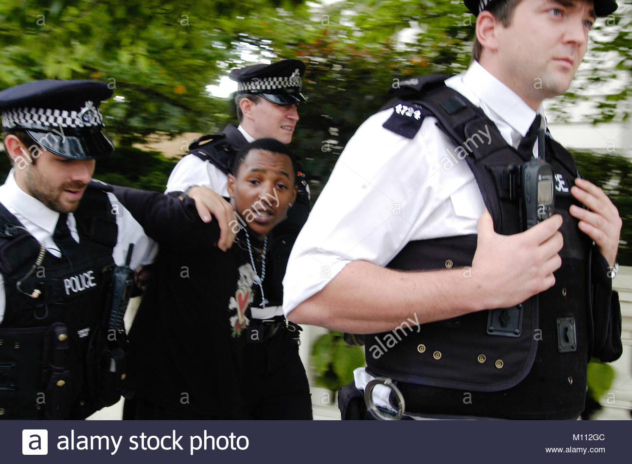 London UK 30th August 2010  Police carry out a stop and search in west London. - Stock Image