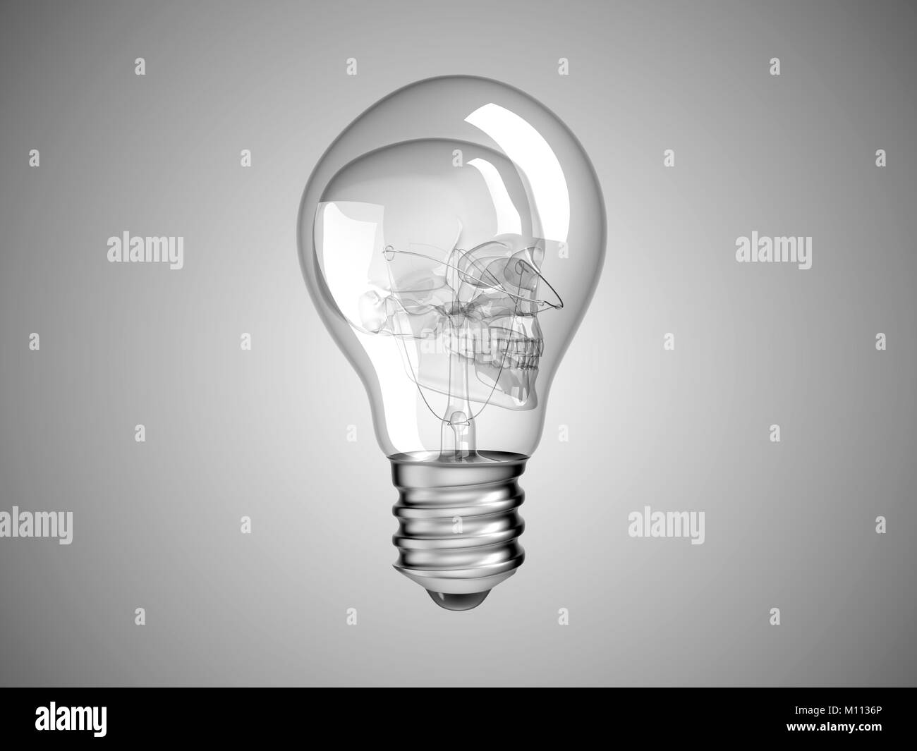 Skull inside Lightbulb - health or death and disease over grey Stock Photo