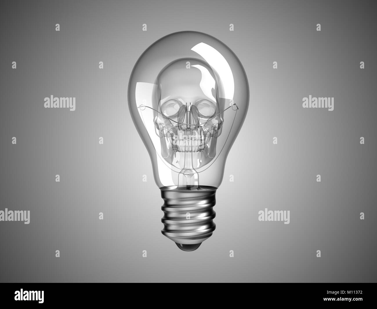 Spooky Skull inside Lightbulb - death and disease. Over grey Stock Photo
