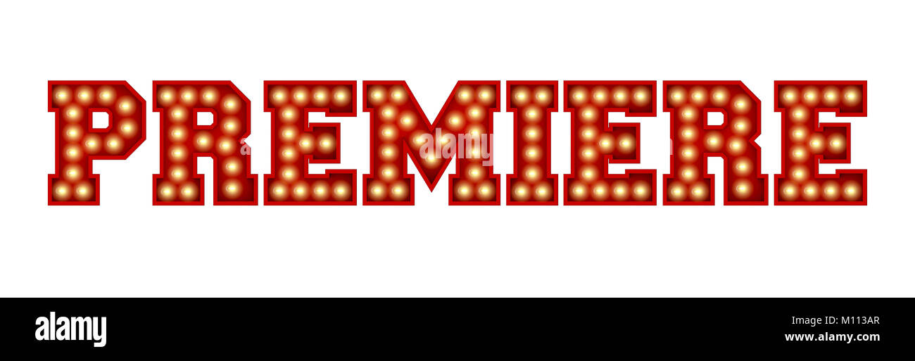 Premiere word made from red vintage lightbulb lettering isolated on a white. 3D Rendering - Stock Image