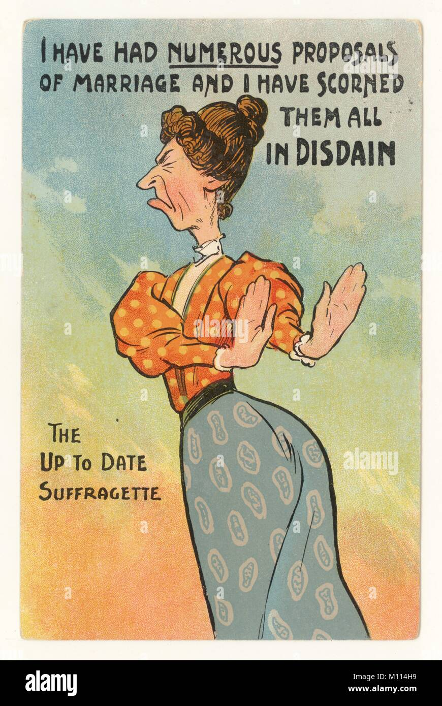 Anti-suffragette misogynistic comic postcard of unatttractive old maid reads 'The up to date Suffragette' - Stock Image