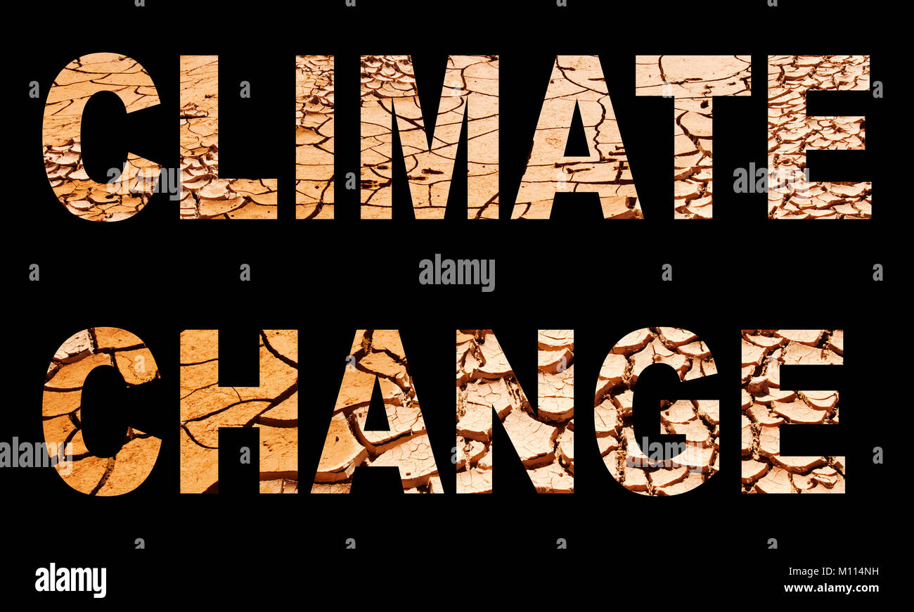 climate change spelled out with drought mud cracks. - Stock Image