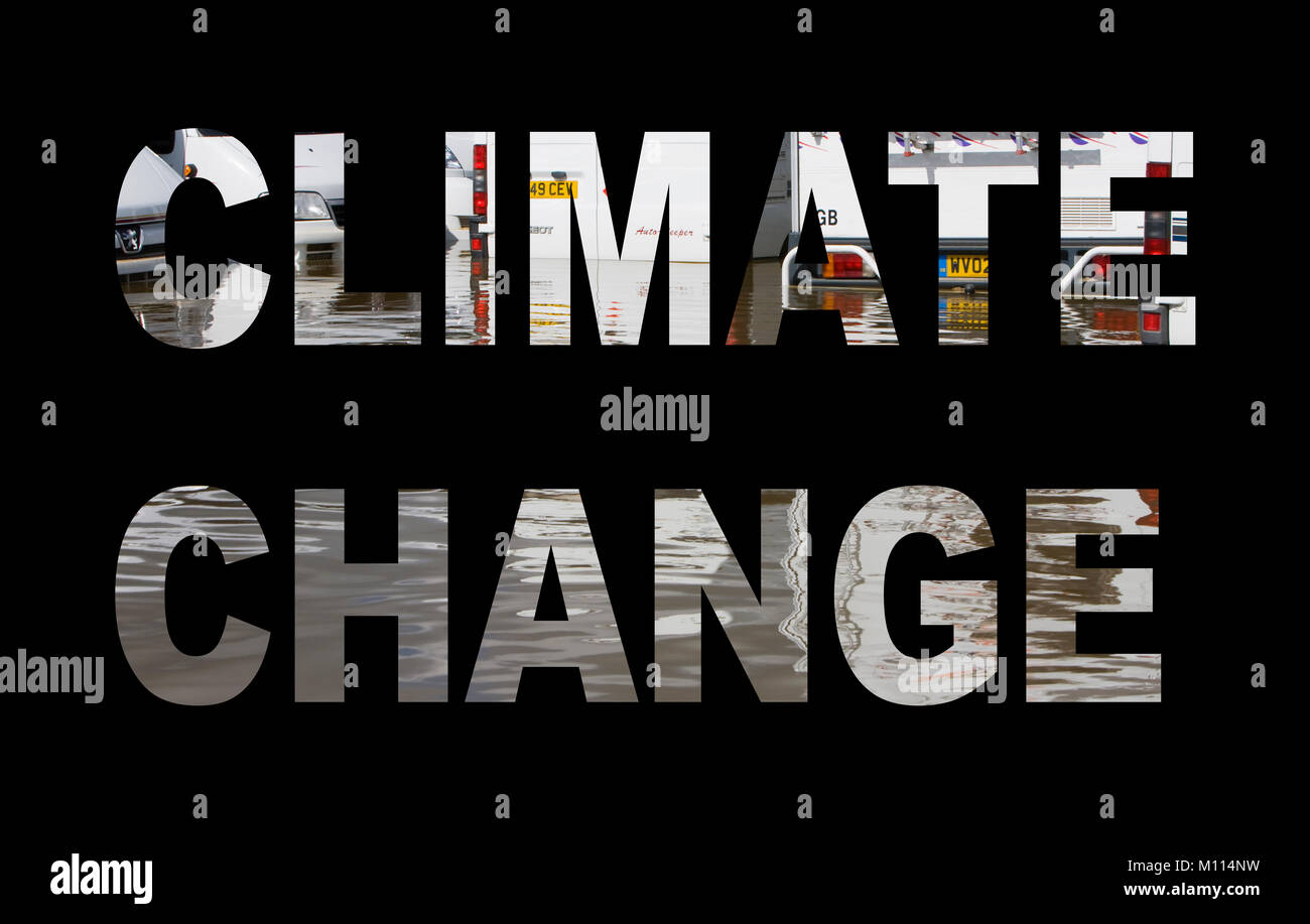 Climate change spelled out with floods. - Stock Image