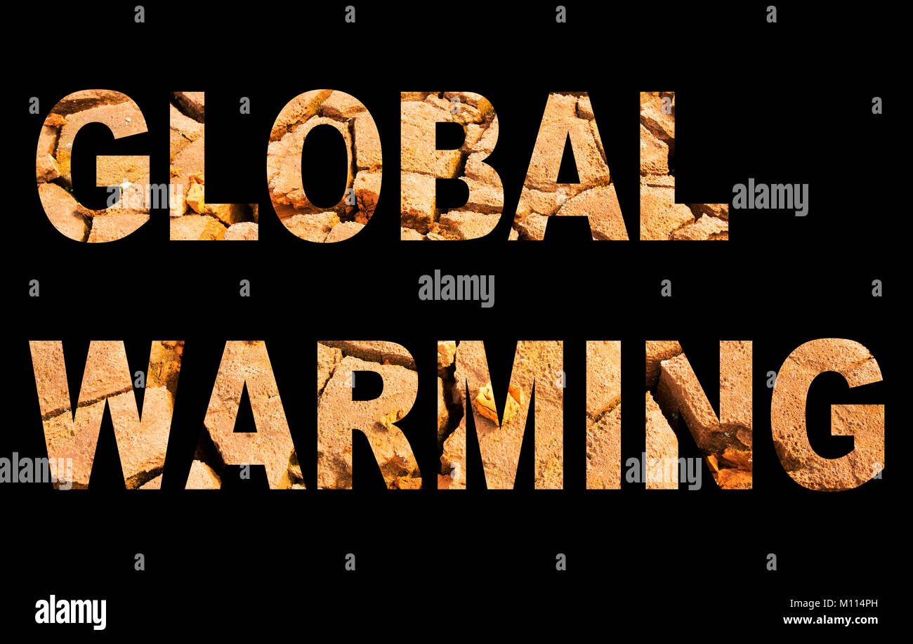 Global warming spelled out with drought mudcracks. - Stock Image