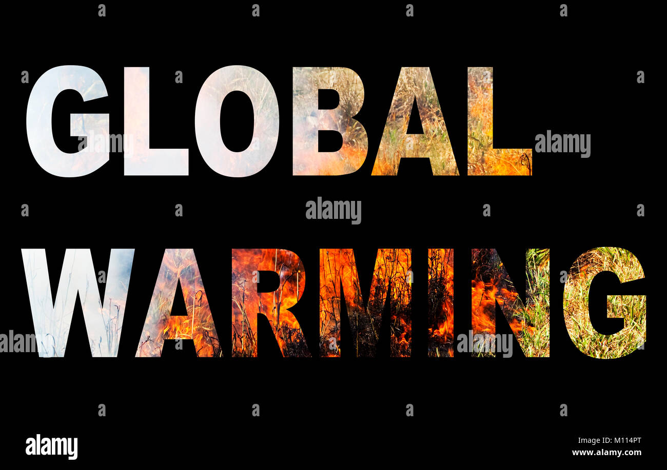 Global warming spelled out with wild fire. - Stock Image