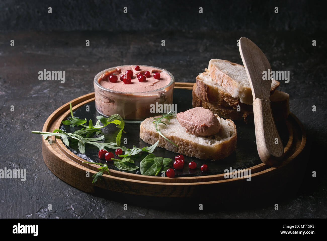 Liver paste with bread - Stock Image
