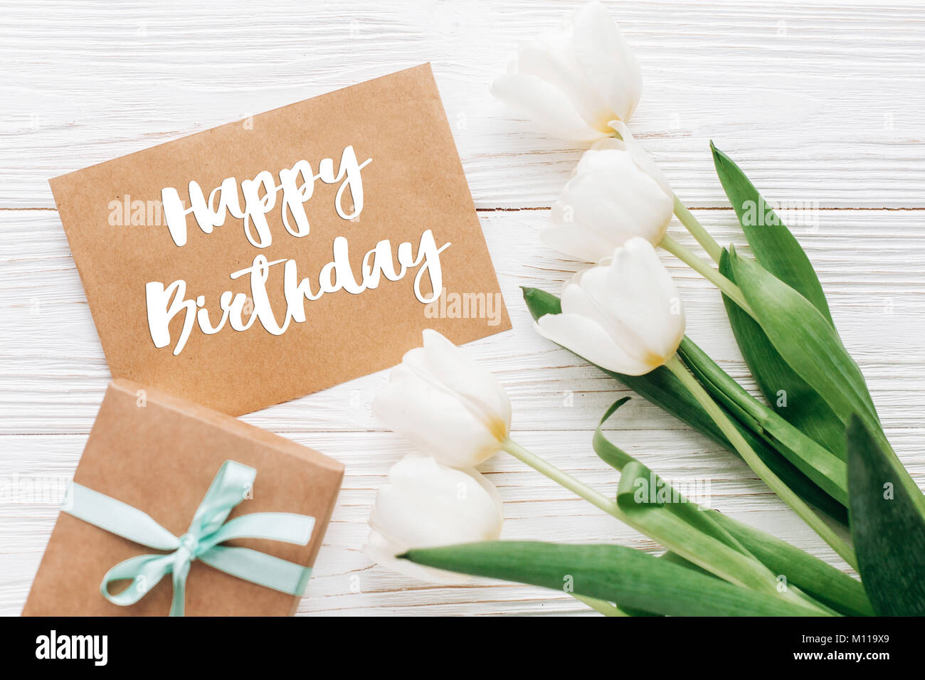 Happy Birthday Greetings Text Flowers Stock Photos Happy Birthday