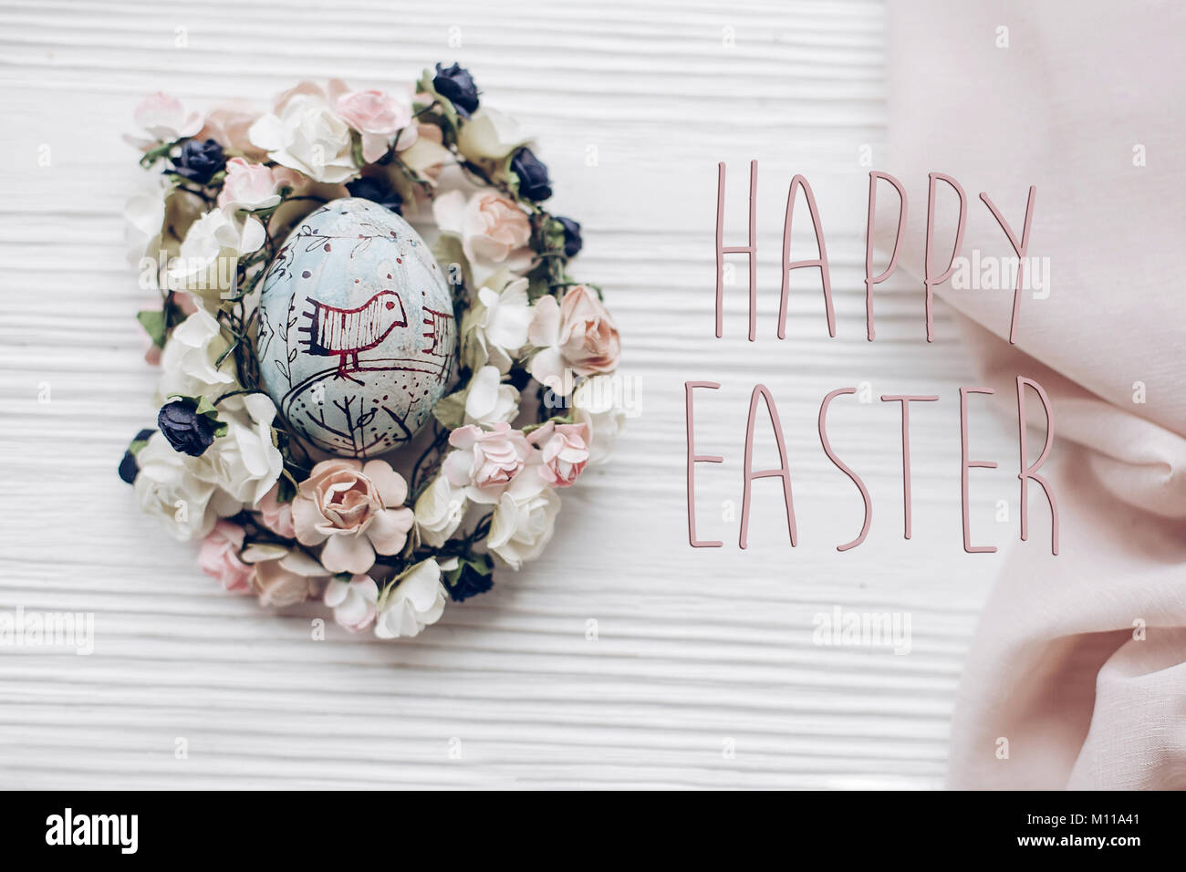Happy Easter Text Greeting Card Sign On Easter Egg With Chick Stock