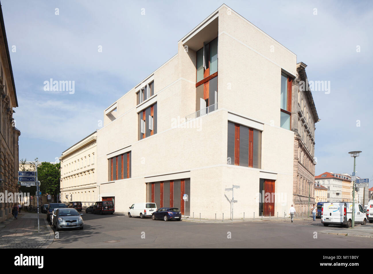Modern Architecture at Kupfergraben Street, Berlin, Germany, Europe I Galerie am Kupfergraben, Architekt David Chipperfield - Stock Image