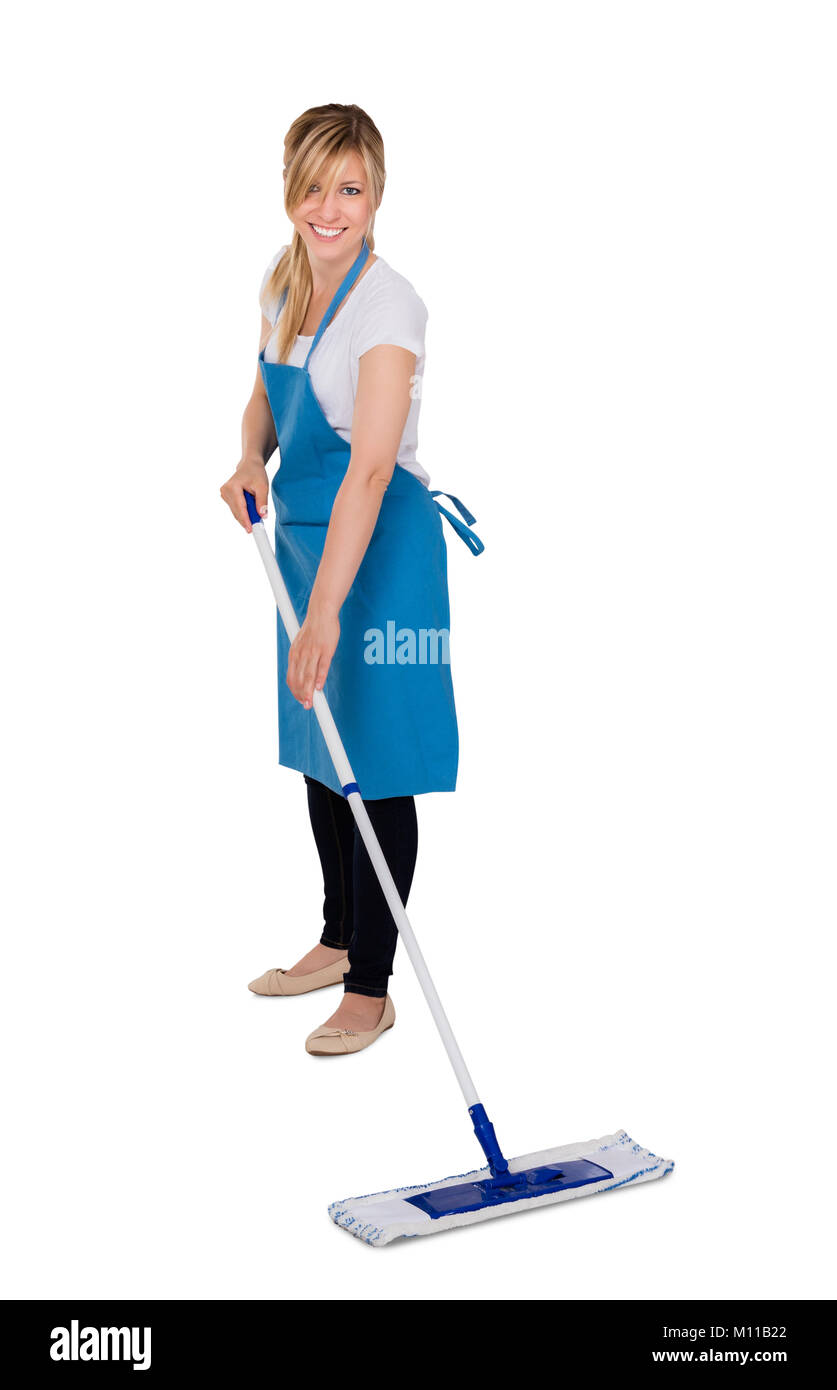 Young Happy Female Janitor Mopping Floor Against White Background Stock Photo