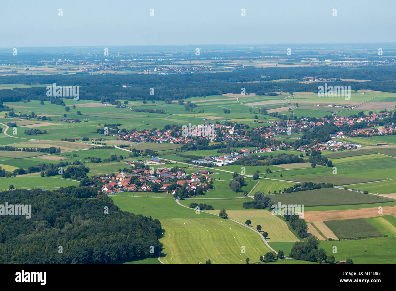 Aerial view of Entraching and Finning, Bavaria, Germany - Stock Image