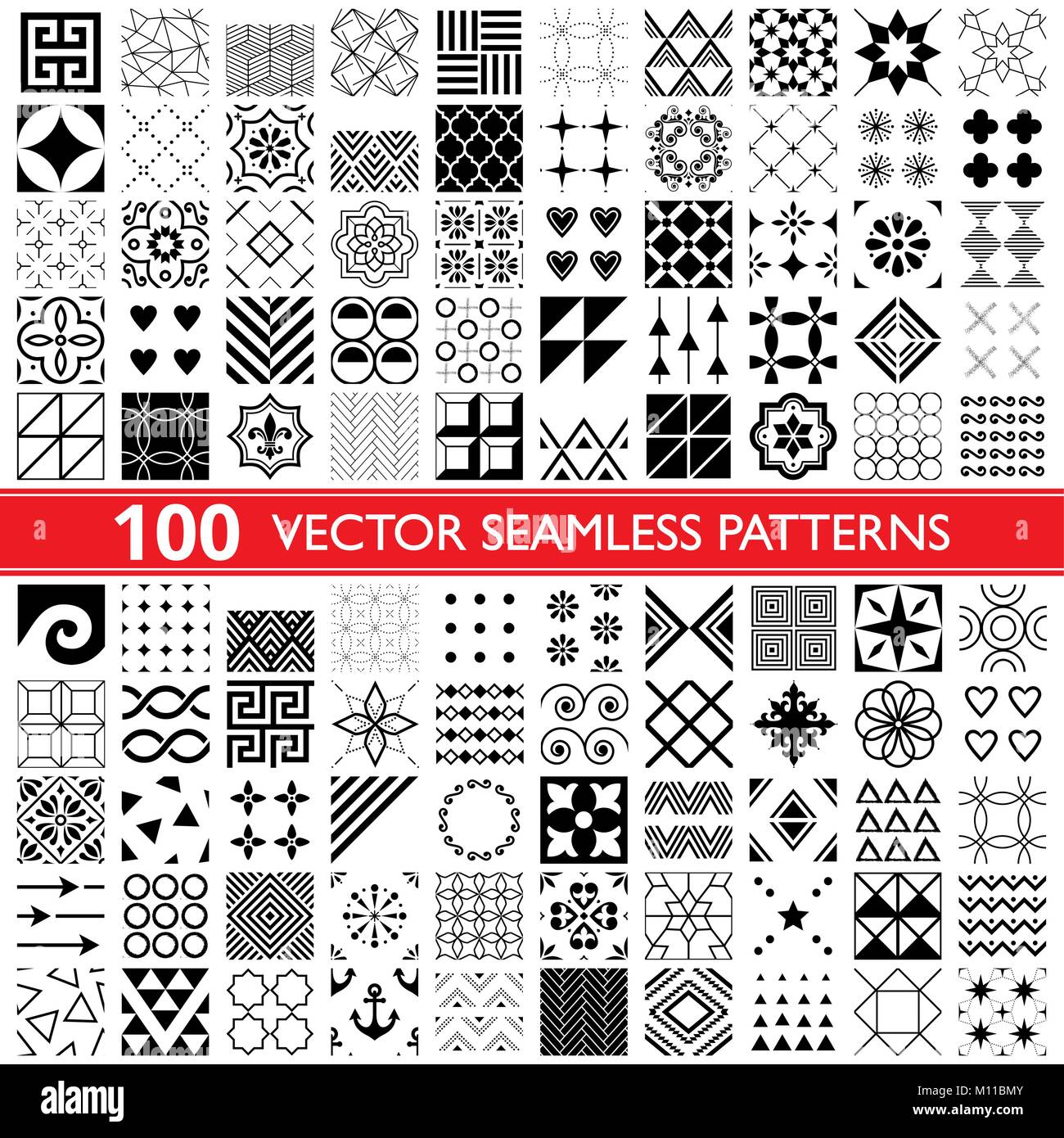 100 vector seamless pattern collection, geometric universal patterns, tiles and wallpapers - big pack - Stock Vector