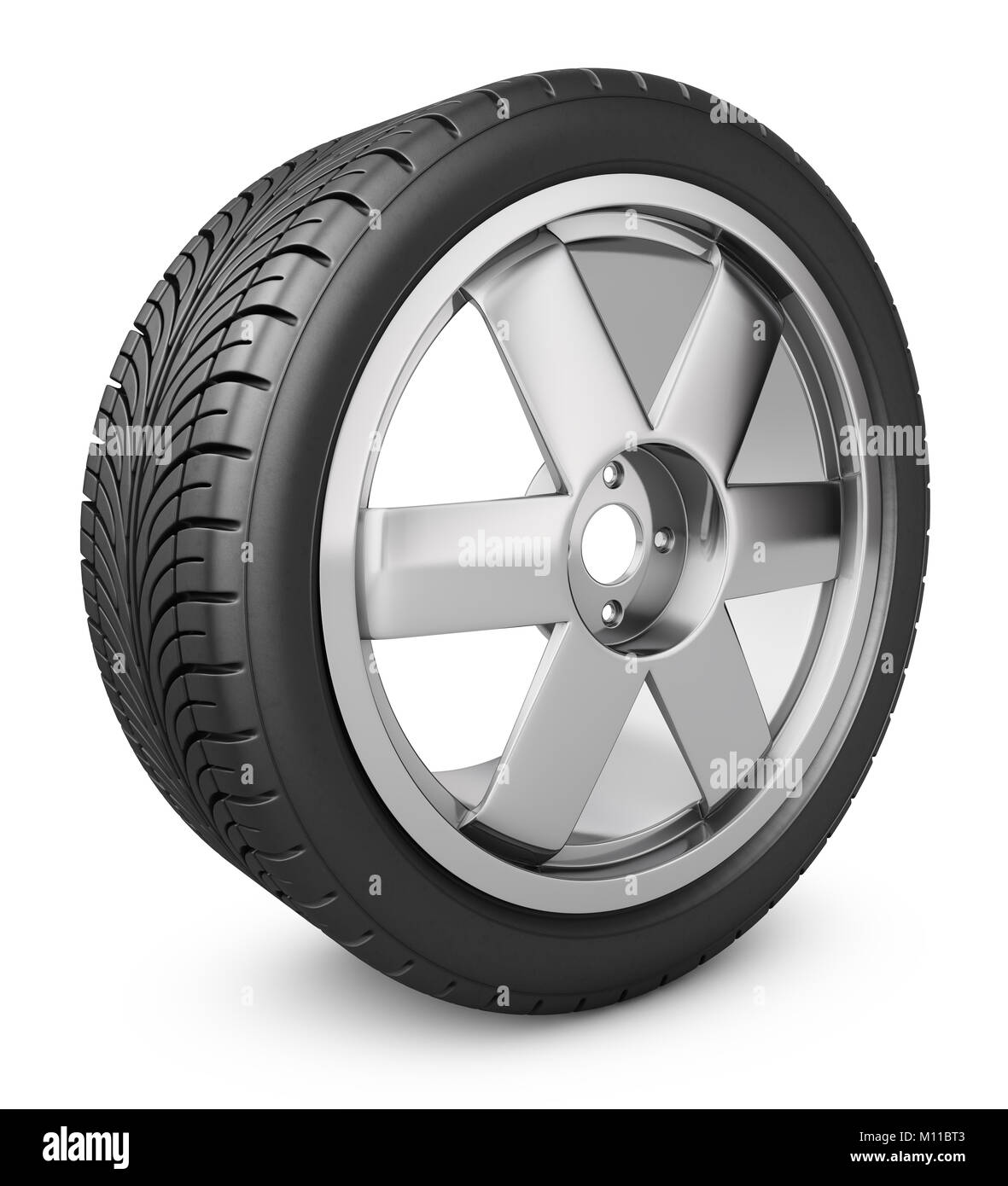Modern wheel on a white background. 3d rendering. - Stock Image