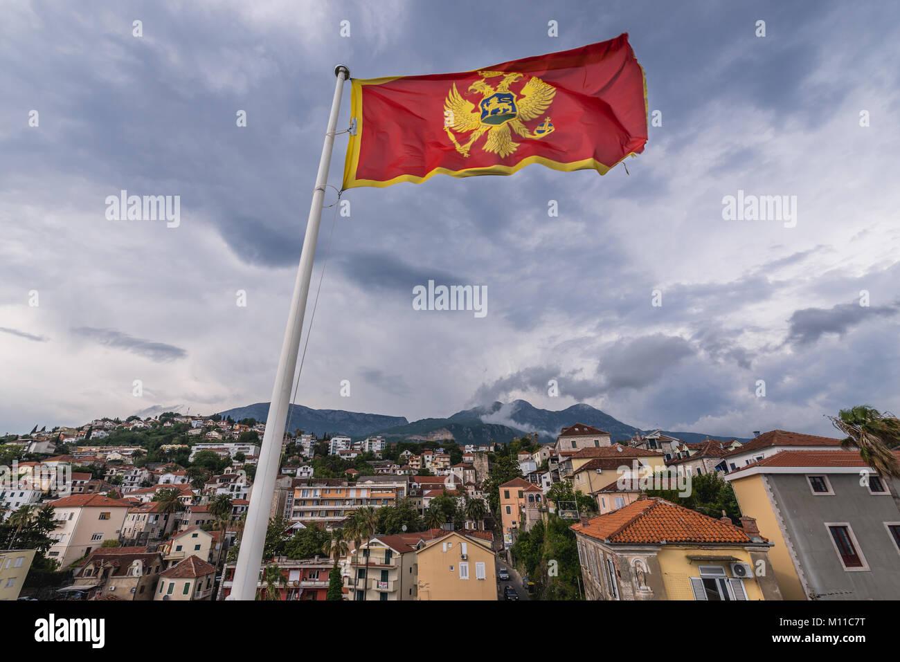Montenegrin flag on Forte Mare fortress in Herceg Novi city on the Adriatic Sea coast in Montenegro Stock Photo