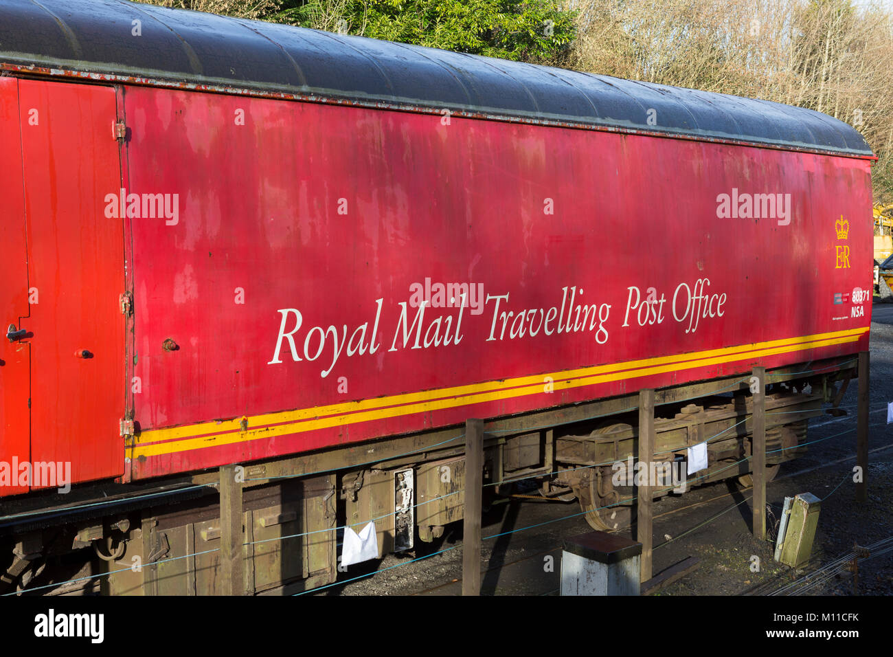 Royal Mail Travelling Post Office wagon at the Gwili Steam Railway attraction at Bronwydd Arms, Carmarthen, Carmarthenshire, Stock Photo