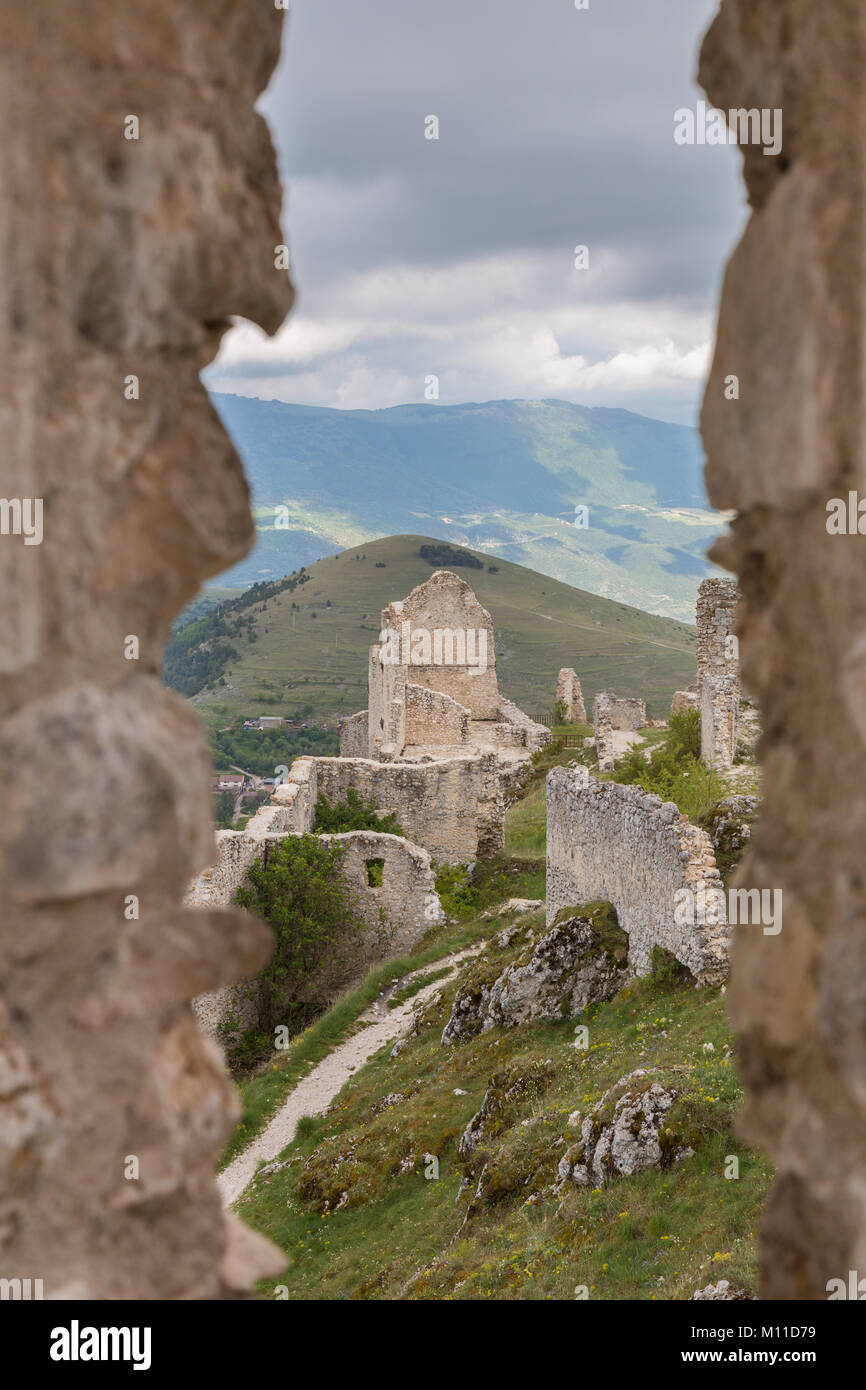 Beautifull castle of Rocca Calascio, famous for the location of the famous movie Ladyhawke in the province of L'Aquila, Stock Photo