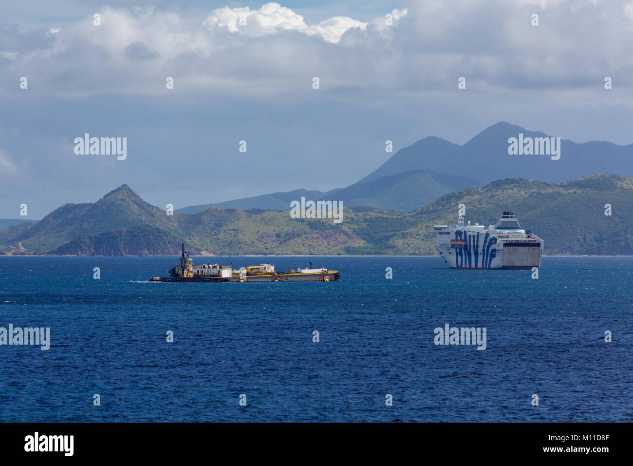 Ferry and Tanker Moored in St Kitts - Stock Image