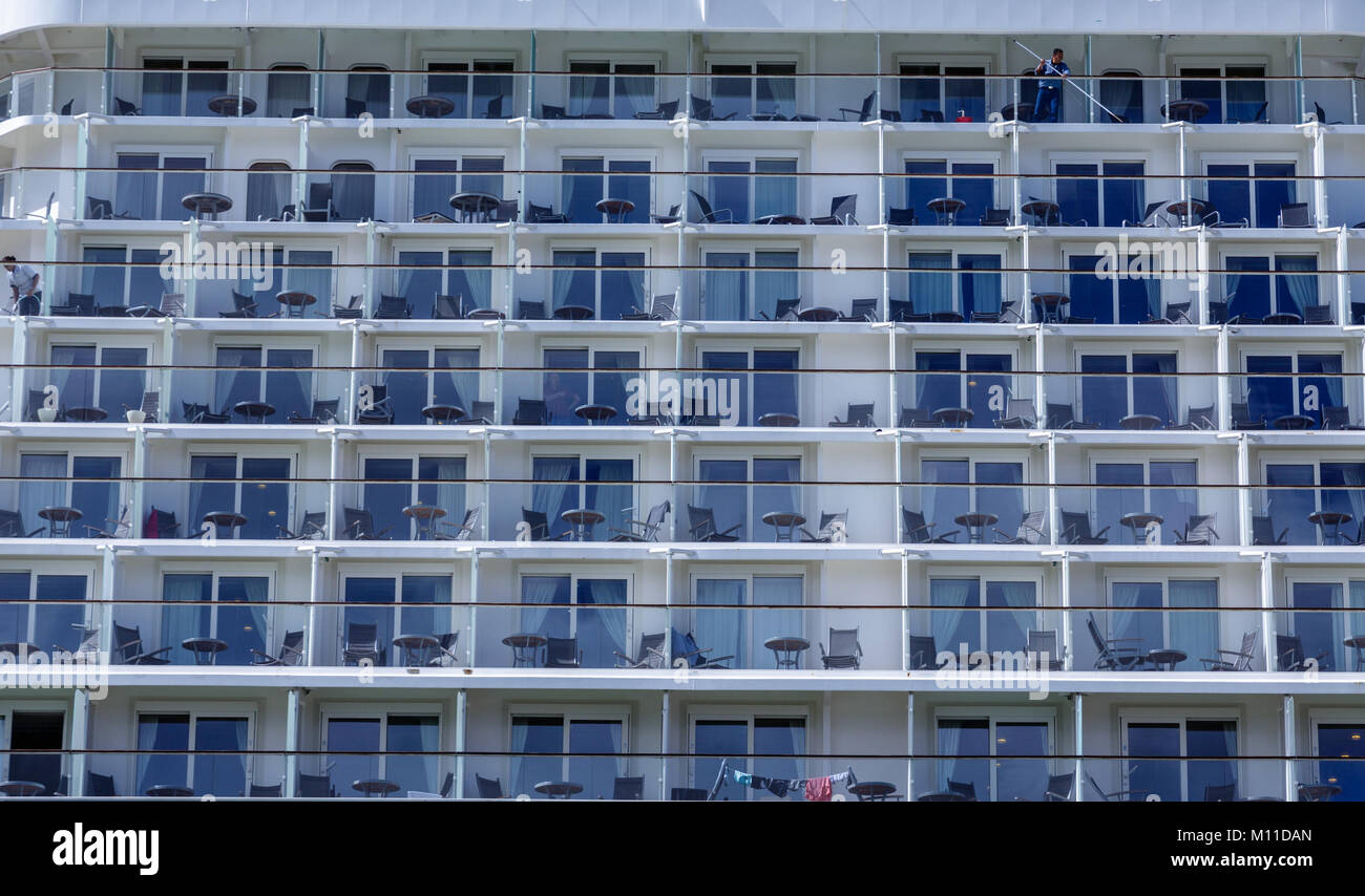 Tables and Chairs on Cruise Ship Balconies - Stock Image