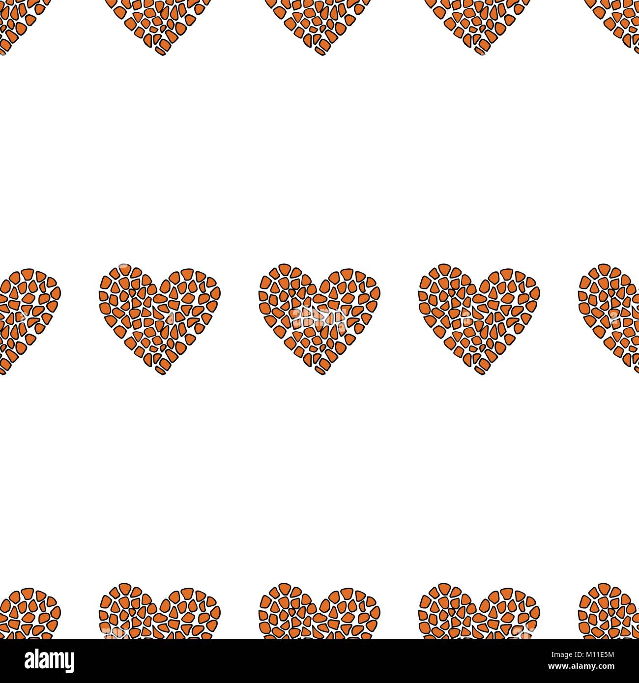 Seamless pattern with animal heart. - Stock Image