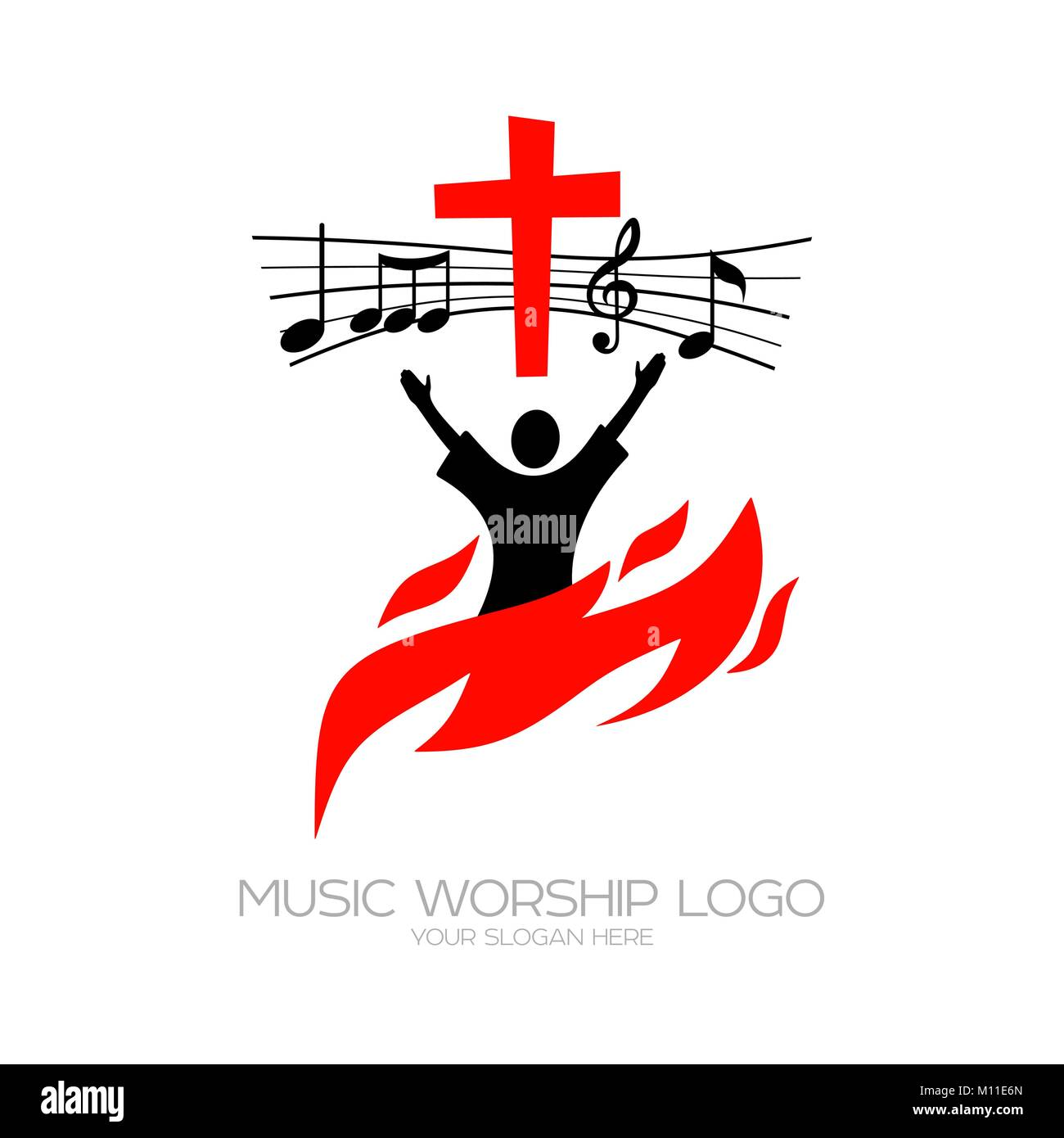 Music logo. Christian symbols. The believer worships Jesus Christ, sings the glory to God - Stock Vector