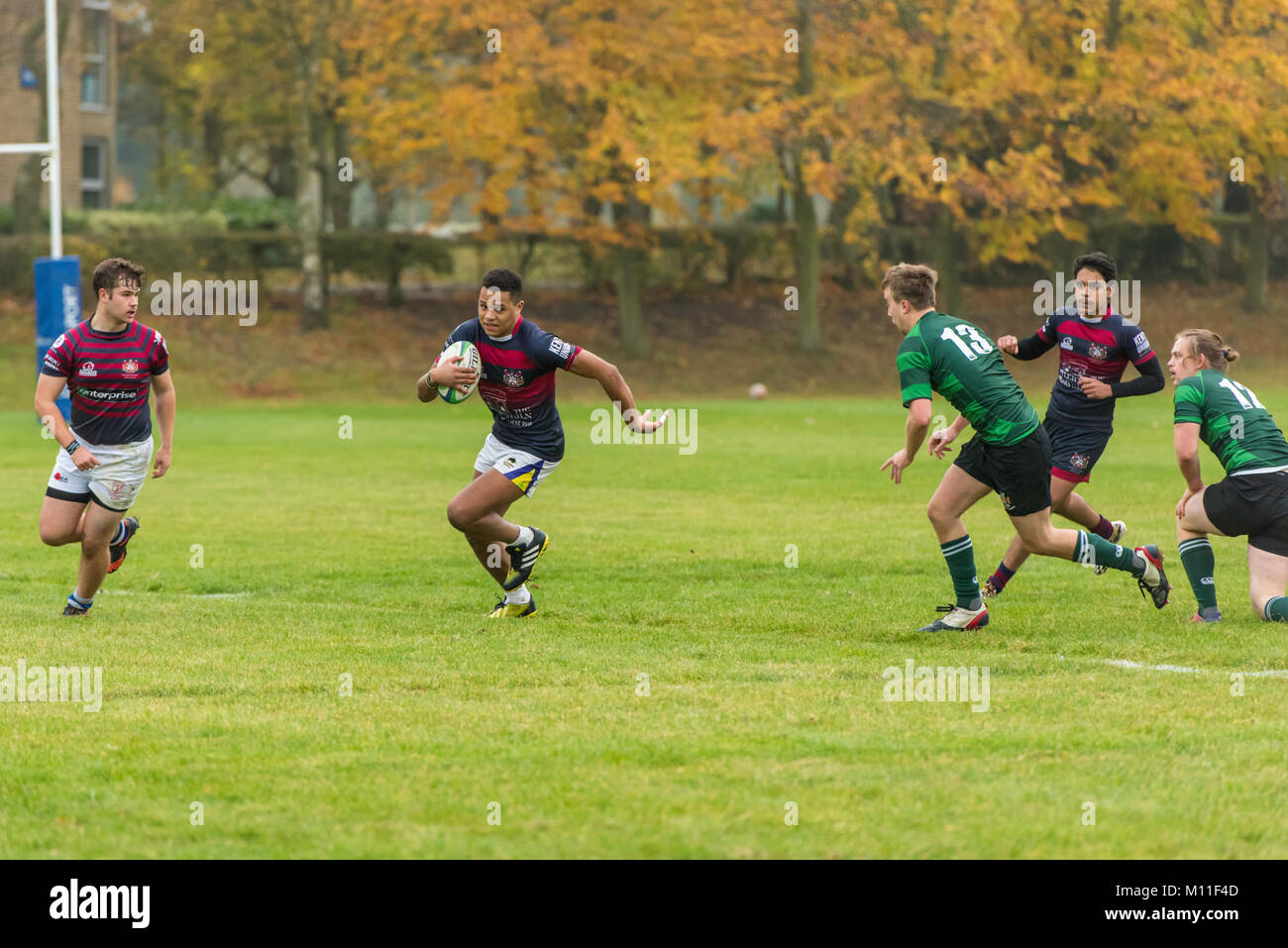 Kent University students at Canterbury competing in a rugby union match. against another university. - Stock Image