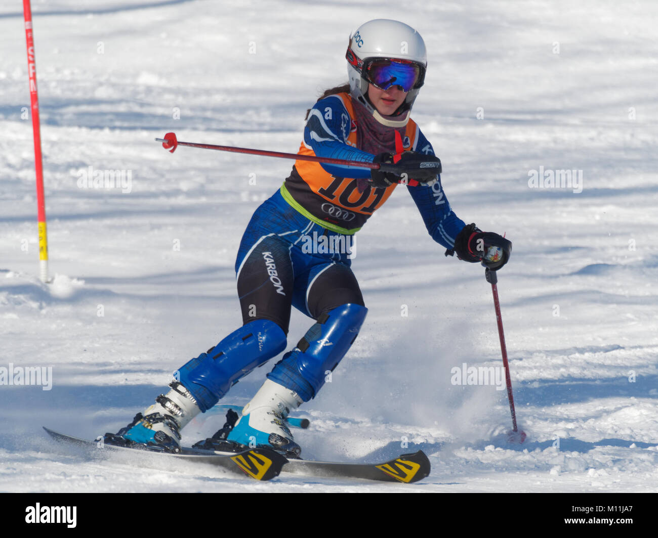 Val Saint-Come,Canada 1/14/2018.Camille Brunelle of Canada  competes  at the Super Serie Sports Experts women slalom - Stock Image