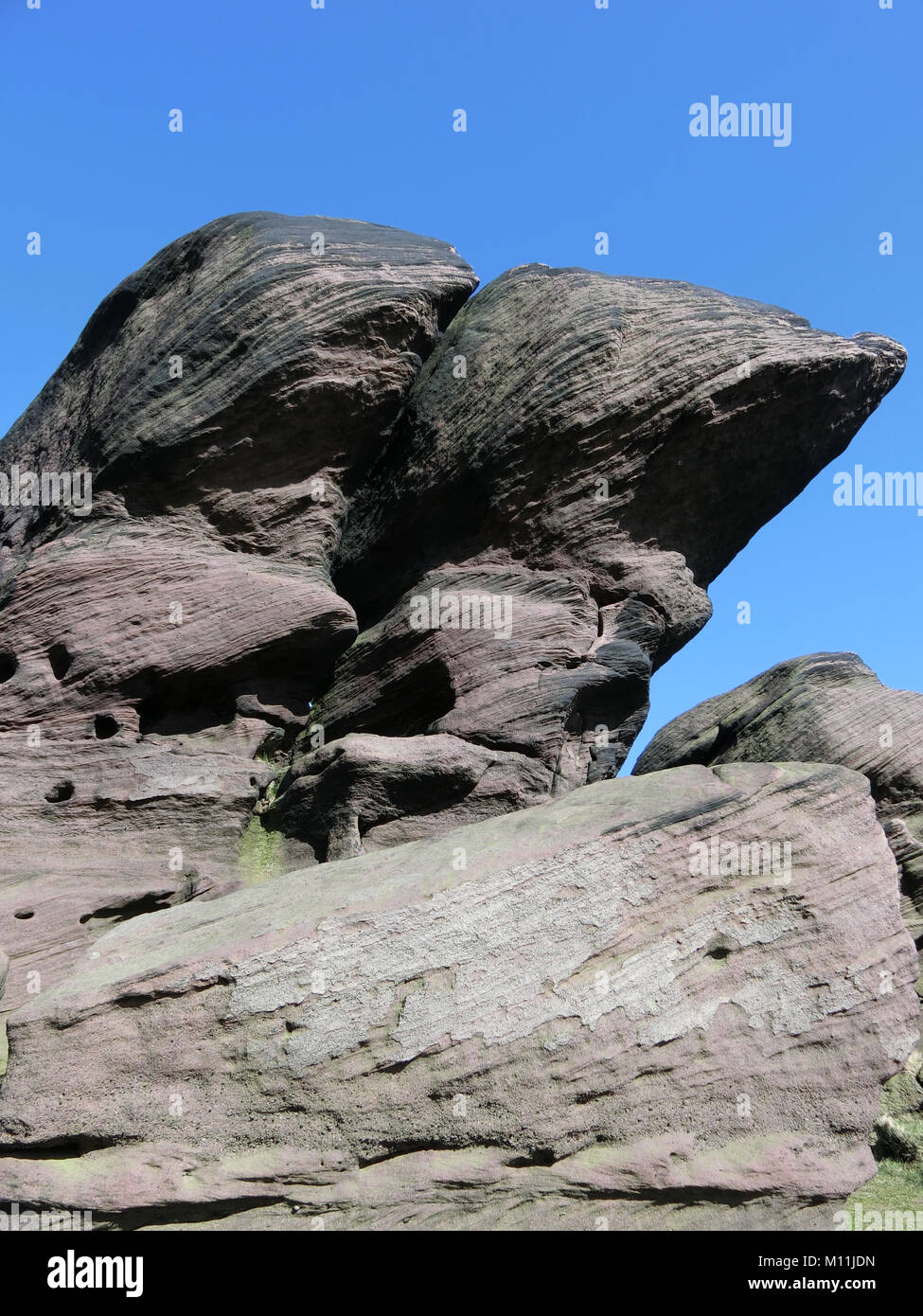 Gritstone Escarpment at The Roaches, Staffordshire Moorlands, Peak District National Park, Staffordshire, England, - Stock Image