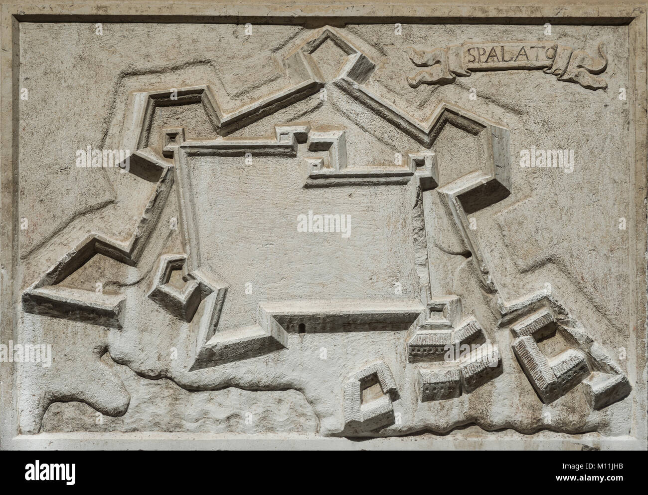 Ancient map of Split city in Croatia, an old venetian fortress on Adriatic Sea, from a stone relief on Santa Maria - Stock Image