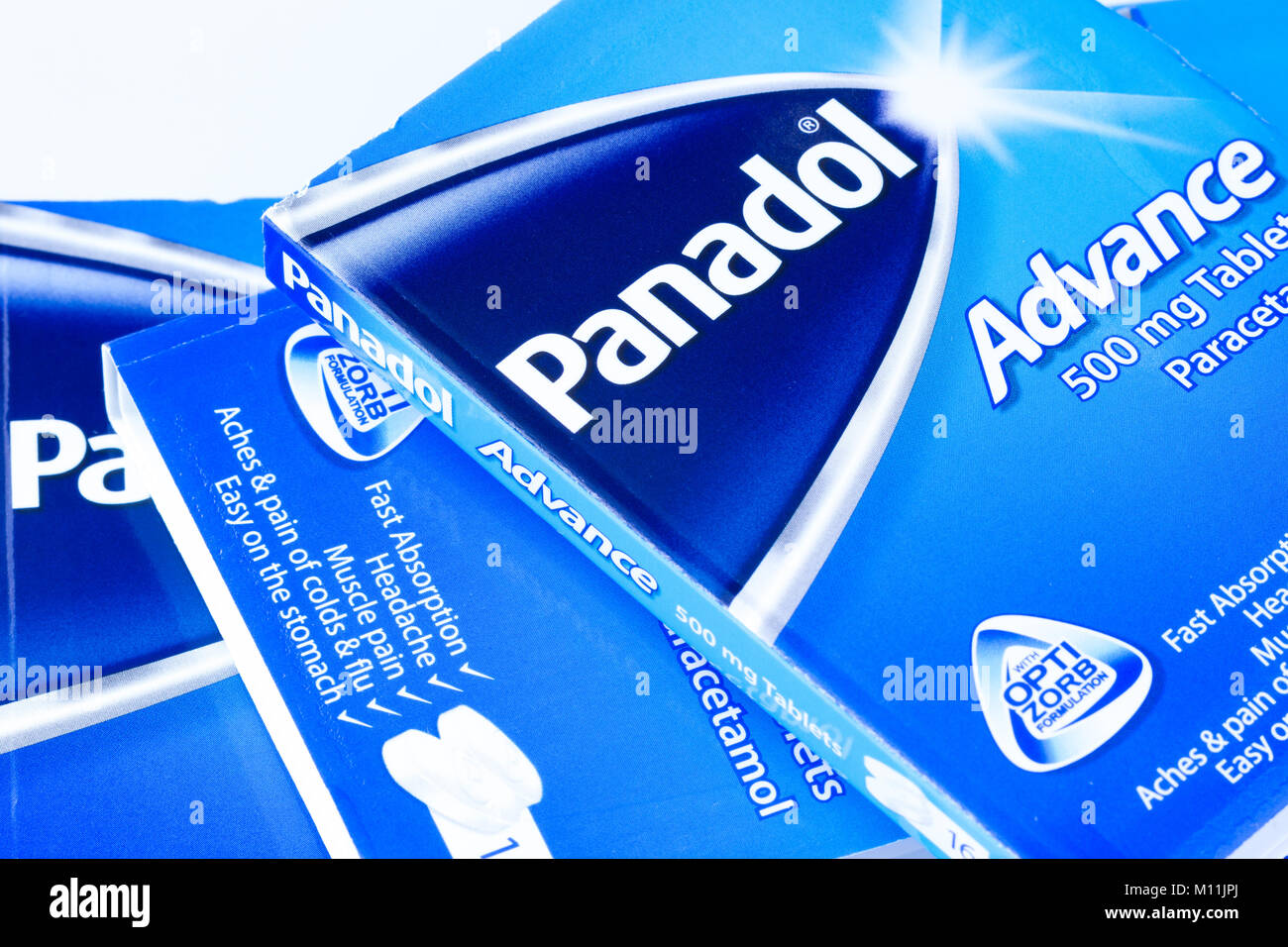 Packets of Panadol Advance, a fast absorbing, paracetamol painkiller, United Kingdom - Stock Image