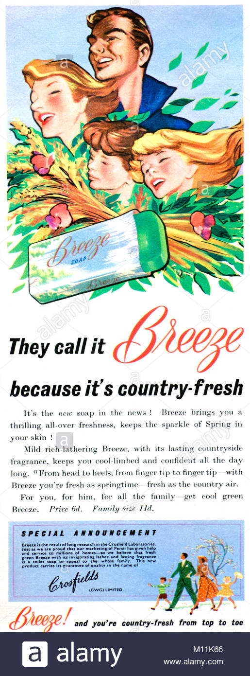 Breeze soap vintage advertising 1952 - Stock Image