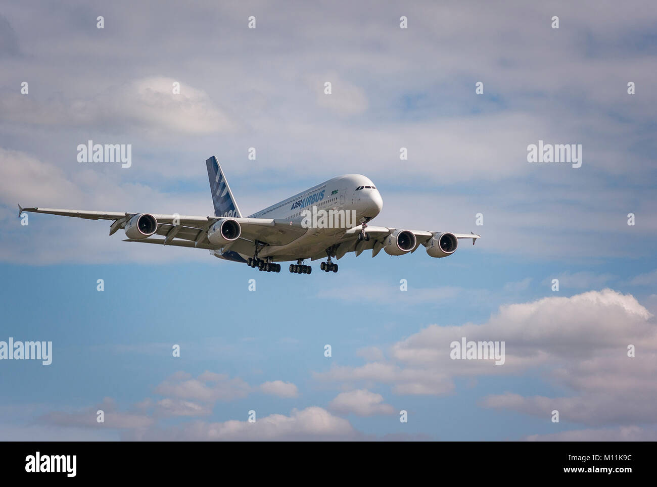 Airbus A380 on a demonstration flight in UK showing four jet engines - Stock Image