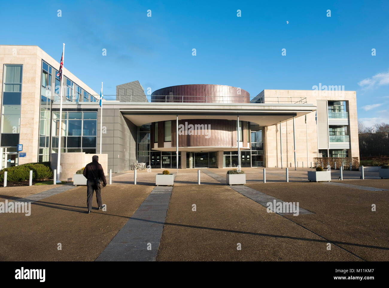 Exterior view of the Livingston Civic Centre, and  Livingston High Court, Livingston town centre, West Lothian - Stock Image
