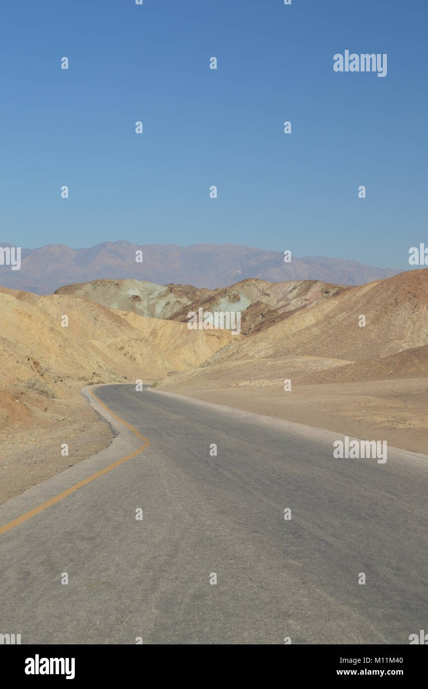 Road To View Artist's Palette. The Lowest Place Below The Sea Level. Gigantic Salt Lagoons. Travel holydays - Stock Image