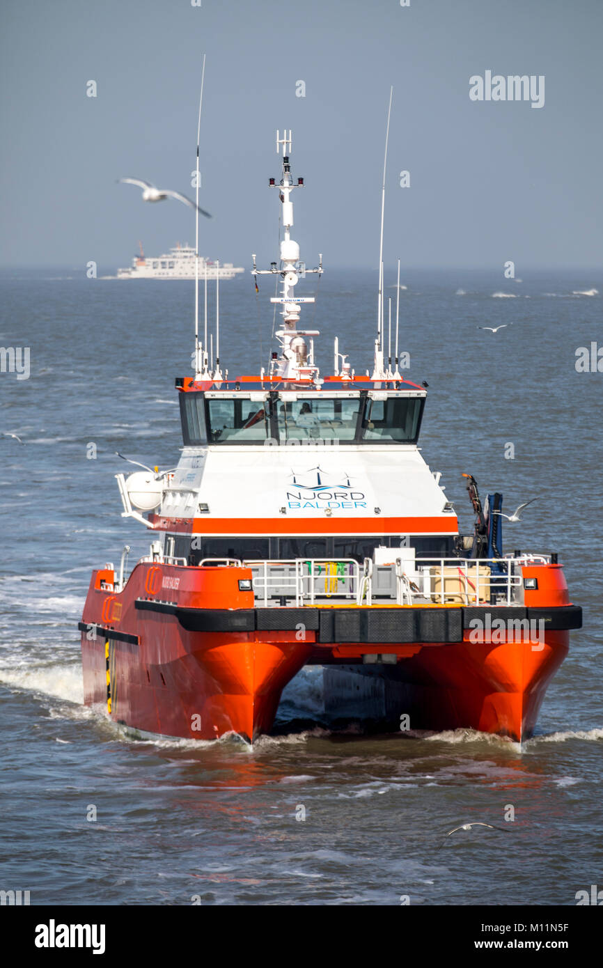 North Sea island Norderney, Ostfriesland, offshore utility ship North Balder, the company Njord Offshore, brings Stock Photo