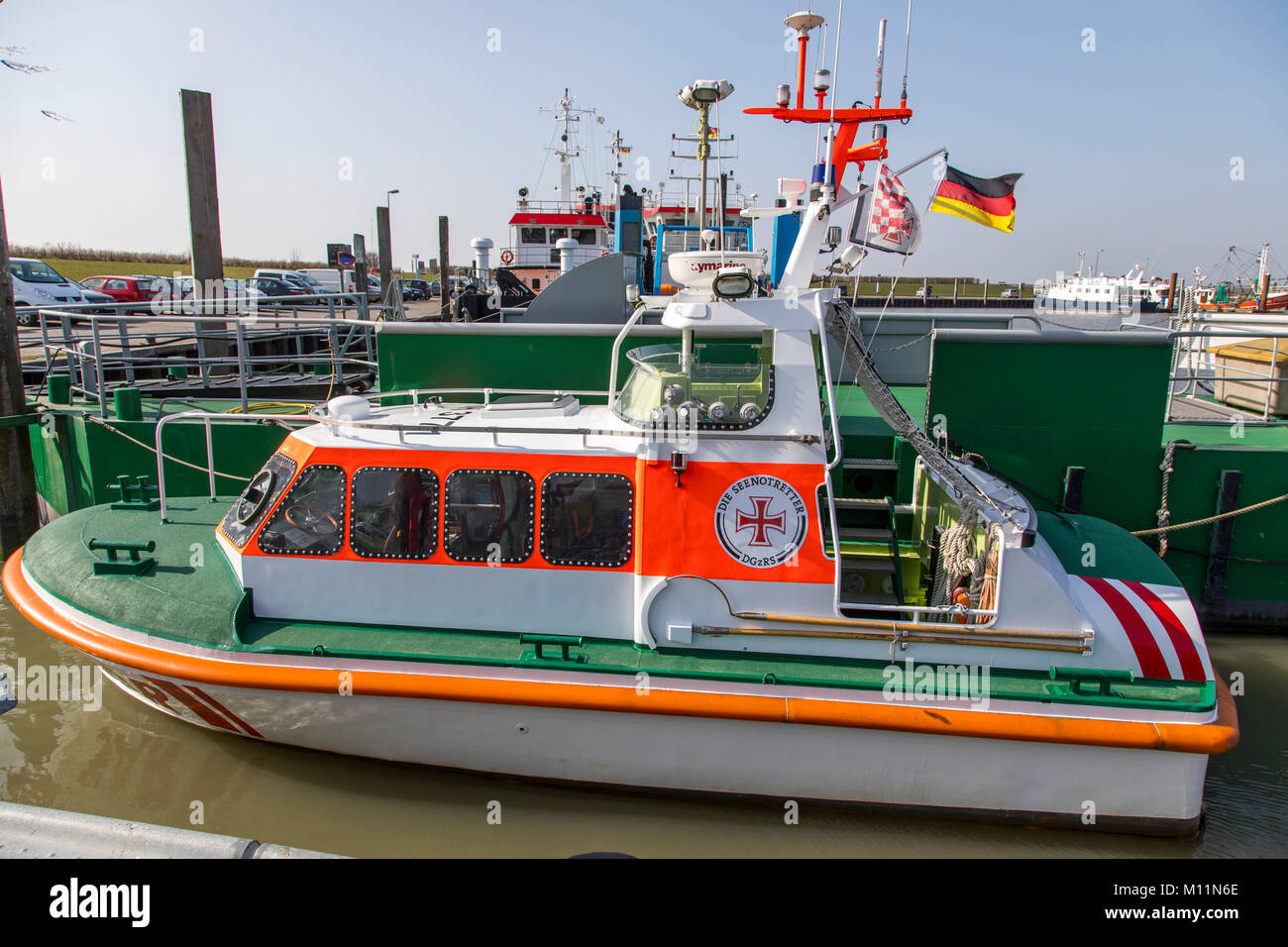 Norddeich, North Sea Coast, East Frisia, Germany, Lifeboat CASSEN KNIGGE of the German Society for Rescue Shipwrecked, - Stock Image