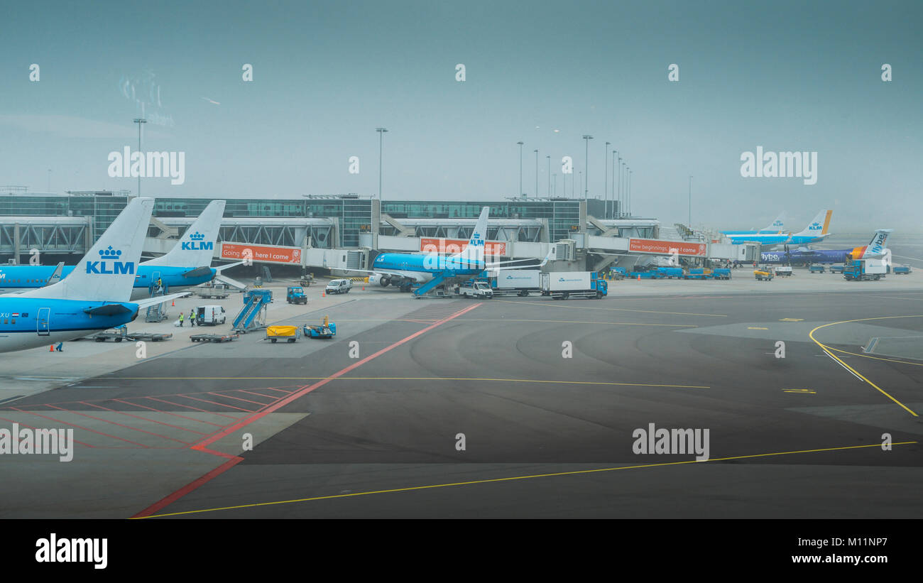 Boeing 777-206 KLM airplanes on tarmac at Schiphol Airport in Amsterdam, Netherlands - Stock Image
