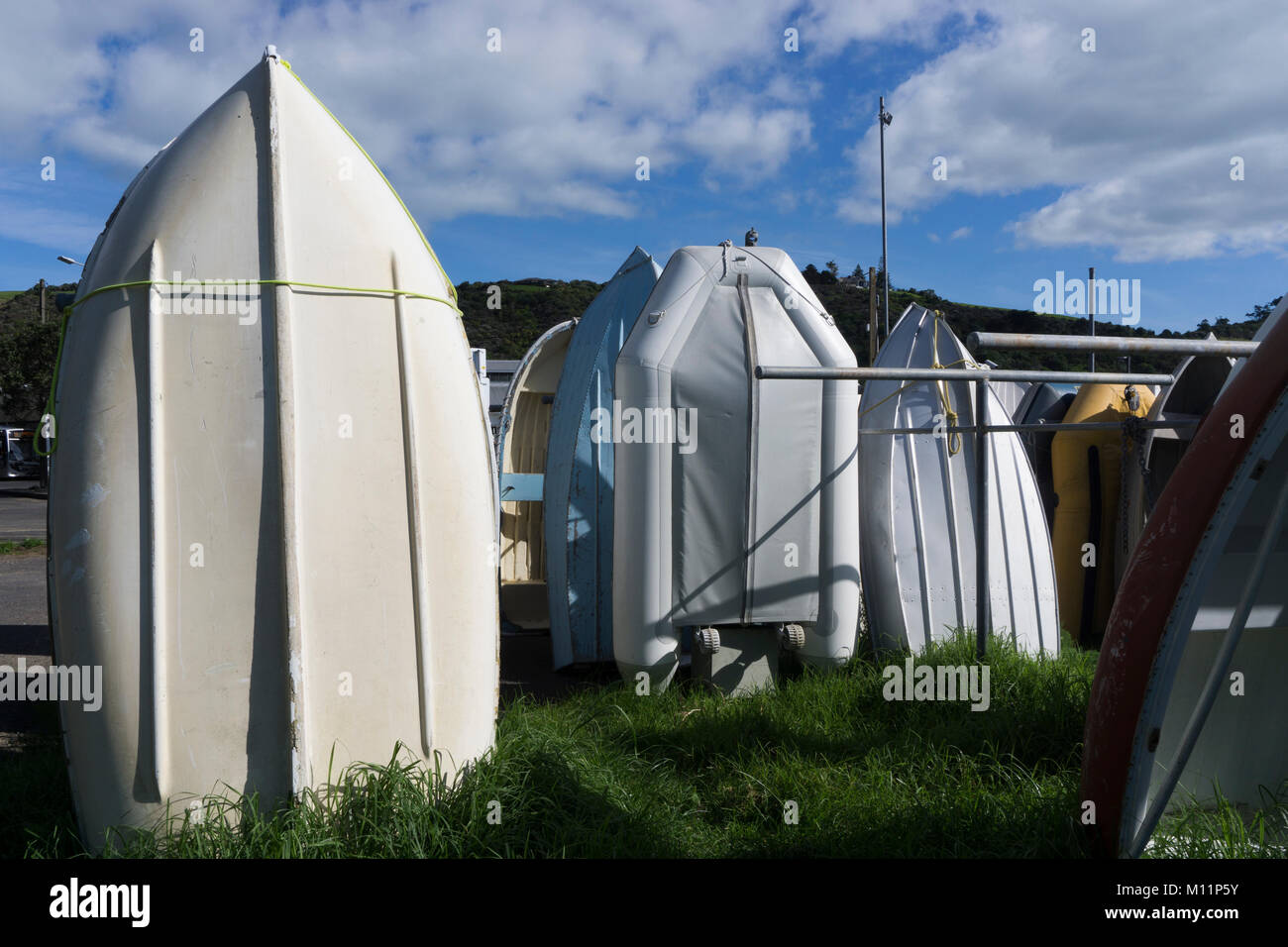 Waiheke Island, New Zealand. Dinghies at Matiatia Bay - Stock Image
